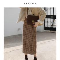 skirt Winter 2020 S,L,M Coffee green lattice reservation, coffee green lattice in stock