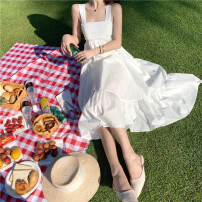 Dress Summer 2020 White, green Average size (160 / 84A) Mid length dress singleton  Sleeveless commute square neck High waist Solid color Socket Ruffle Skirt other camisole 18-24 years old Type A Other / other Korean version 31% (inclusive) - 50% (inclusive) other other