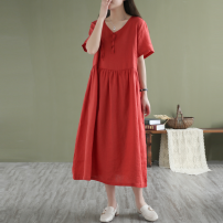 Dress Summer 2021 Red, green, white, purple Average size Mid length dress singleton  Short sleeve commute V-neck Loose waist Solid color Socket A-line skirt other Others literature Ribbon 71% (inclusive) - 80% (inclusive) hemp