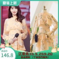 Dress Autumn 2020 Decor S,M,L,XL Short skirt singleton  Long sleeves commute middle-waisted Decor zipper Ruffle Skirt routine Others 25-29 years old Type A lady More than 95% Chiffon