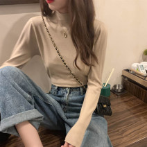 sweater Spring 2021 S,M,L,XL White, black, blue, khaki, brown Long sleeves Socket singleton  Regular other 31% (inclusive) - 50% (inclusive) Half high collar Regular commute routine Solid color Self cultivation Fine wool Keep warm and warm 18-24 years old cotton