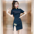 cheongsam Summer 2021 S,M,L,XL Black (Dragonfly) Short sleeve Short cheongsam Retro High slit daily Round lapel Solid color 18-25 years old Piping cotton 71% (inclusive) - 80% (inclusive)