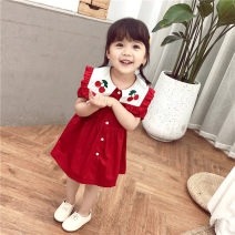Dress gules female Other / other 7(90cm),9(100cm),11(110cm),13(120cm),15(130cm) Other 100% summer leisure time Short sleeve other other 2 years old, 3 years old, 4 years old, 5 years old, 6 years old