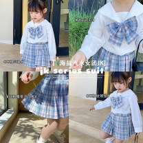 suit Other / other Graph color 7(90cm),9(100cm),11(110cm),13(120cm),15(130cm) female spring and autumn Korean version Long sleeve + skirt routine Socket nothing lattice other children Expression of love 2 years old, 3 years old, 4 years old, 5 years old, 6 years old