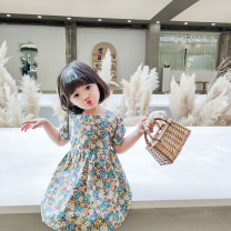 Dress Graph color female Other / other 7(90cm),9(100cm),11(110cm),13(120cm),15(130cm) Other 100% summer fresh Short sleeve Broken flowers other other 2 years old, 3 years old, 4 years old, 5 years old, 6 years old