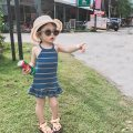 Dress Blue, khaki, pink female Other / other 7,9,11,13,15 Other 100% summer Korean version Skirt / vest stripe other other Two, three, five, six, four Chinese Mainland