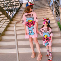 Parent child fashion Teddy pink t skirt, Teddy white T skirt, Teddy Black T skirt Women's dress female Other / other 90cm, 100cm, 110cm, 120cm, 130cm, 140cm, 150cm, mom s (suitable for 90-115kg), mom m (suitable for 115-140kg) summer leisure time Thin money Cartoon animation cotton Average size