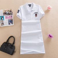 Dress Summer 2020 White, gray, red, blue, lake blue M,L,XL,2XL,3XL Mid length dress singleton  Short sleeve commute Polo collar middle-waisted Solid color A-line skirt routine Type A Northern and southern bears Korean version NB-1908 81% (inclusive) - 90% (inclusive) cotton