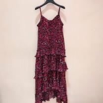 Dress Summer 2020 Red, black 2 / s, 3 / m, 4 / L, 5 / XL Mid length dress singleton  Sleeveless commute V-neck Broken flowers Cake skirt camisole Novel goldette lady printing More than 95% other