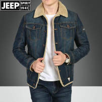 Jacket Jeep / Jeep Fashion City Light blue, dark blue M,L,XL,2XL,3XL,4XL Plush and thicken easy Other leisure winter Cotton 65% polyester 35% Long sleeves Wear out Lapel American leisure youth routine Zipper placket 2016 Straight hem No iron treatment Loose cuff Solid color Denim More than two bags)