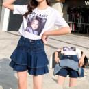 skirt Summer 2020 26, 27, 28, 29, 30, 31, 32, 33, 34, 36, 38, 40 blue Short skirt Versatile High waist A-line skirt Type A Denim