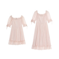Dress Spring 2021 Star River Pink (short skirt version), Star River Pink (long skirt version) XS,S,M,L Mid length dress singleton  Short sleeve commute square neck High waist Solid color zipper Big swing puff sleeve Others Type X lady Auricularia auricula, nail beads, sequins