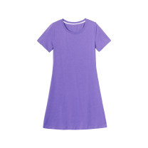 Dress Spring 2021 Potato purple, active powder S,M,L Short skirt singleton  Short sleeve commute Crew neck Loose waist Solid color Socket other routine Others Type H Simplicity