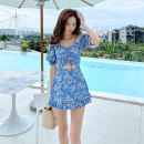 one piece  Aishang M L XL sky blue Skirt one piece With chest pad without steel support Winter 2020 no female Short sleeve Casual swimsuit bow