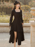 Dress Spring 2021 black S,M,L Mid length dress singleton  Long sleeves commute square neck High waist Solid color zipper other Type A Retro Frenulum