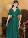 Dress Summer 2021 blackish green S,M,L,XL Mid length dress singleton  Short sleeve commute V-neck High waist Solid color zipper Big swing Type A Retro Button, stitching