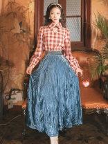 Dress Spring 2021 Plaid Dress, plaid shirt + skirt S,M,L longuette Long sleeves commute tailored collar High waist Solid color zipper A-line skirt Type A literature