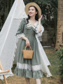 Dress Summer 2021 Picture color S,M,L longuette singleton  elbow sleeve Sweet Admiral High waist Solid color zipper Big swing pagoda sleeve Type A Auricularia auricula, lace up, stitching, gauze net Mori
