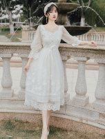 Dress Summer 2021 Off white S,M,L Mid length dress singleton  elbow sleeve commute square neck High waist Solid color zipper A-line skirt pagoda sleeve Type A Simplicity Embroidery, lace up, stitching, mesh