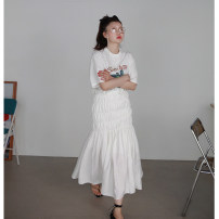 skirt Autumn 2020 S, M white Mid length dress Versatile High waist A-line skirt Solid color Type X 18-24 years old 91% (inclusive) - 95% (inclusive) other Other / other cotton