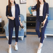 Fashion suit Summer of 2019 S,M,L,XL Blue two piece set, blue two piece set + sling 31% (inclusive) - 50% (inclusive) polyester fiber