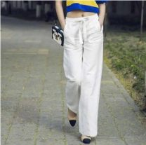 Casual pants White, black, red, green, blue 1 / 26, 2 / 27, 3 / 28, 4 / 29, 5 / 30 Summer 2021 trousers Wide leg pants High waist commute routine 96% and above Brother amashsin hemp hemp