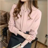 shirt Light pink 2/S,3/M,4/L,5/XL Summer 2021 polyester fiber 71% (inclusive) - 80% (inclusive) Long sleeves Versatile Regular stand collar Single row multi button routine Solid color Straight cylinder Brother amashsin 1300679-258965-001 Frenulum Chiffon