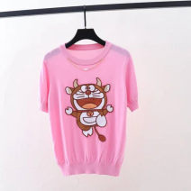 T-shirt White, black, pink 2/S,3/M,4/L,5/XL Summer 2021 Short sleeve Crew neck easy Regular routine Sweet Viscose 71% (inclusive) - 85% (inclusive) youth Cartoon animation, animal pattern, stitching Brother amashsin 5300735-1371139-001 solar system