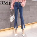 Jeans Summer 2021 blue 2/S,3/M,4/L,5/XL,6/2XL trousers High waist Flared trousers routine Wash, button Dark color Brother amashsin 96% and above