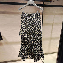 skirt Summer 2021 2/S,3/M,4/L,5/XL black Mid length dress Versatile High waist A-line skirt Broken flowers Type A 5200373-9910737-001 51% (inclusive) - 70% (inclusive) Brother amashsin polyester fiber printing