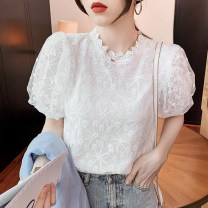shirt White, black 2/S,3/M,4/L,5/XL Summer 2021 polyester fiber 31% (inclusive) - 50% (inclusive) Short sleeve Versatile Regular stand collar Socket puff sleeve Solid color Self cultivation Brother amashsin 5300765-256412-001 Lace