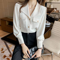 shirt Off white 2/S,3/M,4/L,5/XL,6/2XL Spring 2021 other 96% and above Long sleeves Versatile Regular square neck Single row multi button routine Solid color Self cultivation Brother amashsin 5001-080080-001 Button Chiffon