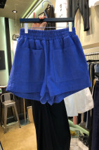 Casual pants Black, blue S,M,L,XL Spring 2021 shorts Wide leg pants High waist commute routine 18-24 years old 31% (inclusive) - 50% (inclusive) Korean version