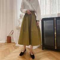 skirt Spring 2021 S,M,L Mid length dress Sweet High waist A-line skirt Solid color Type A 18-24 years old 81% (inclusive) - 90% (inclusive) other Other / other other Splicing solar system