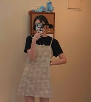 Dress Summer 2020 Plaid suspender skirt S,M,L Short skirt singleton  Sleeveless commute other High waist lattice other A-line skirt other camisole 18-24 years old Type A Korean version lattice 80-367 81% (inclusive) - 90% (inclusive) other other