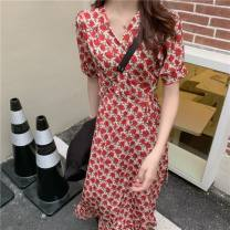 Women's large Summer 2021 One piece red floral wrap skirt L [100-120 Jin], XL [120-140 Jin], XXL [140-160 Jin], XXXL [160-175 Jin], XXXXL [175-200 Jin] Dress
