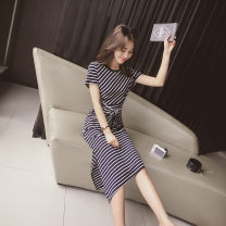 Nursing clothes Picture color M,L,XL,2XL Socket summer Short sleeve have more cash than can be accounted for Versatile Dress stripe cotton