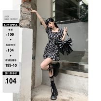 Dress Summer 2021 XS,S,M,L,XL Short skirt singleton  Short sleeve commute square neck Loose waist Decor Socket routine 18-24 years old Type H Ruko Hang Korean version More than 95% other other