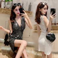 Dress Summer of 2019 White, black S,M,L Short skirt singleton  Sleeveless commute V-neck High waist Solid color Socket Irregular skirt other Others 18-24 years old Type H Other / other Korean version 91% (inclusive) - 95% (inclusive) other other