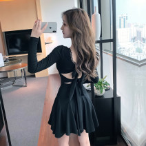 Dress Spring 2021 Pink, black S,M,L Short skirt singleton  Long sleeves commute V-neck High waist Solid color Socket A-line skirt routine Others 18-24 years old Other / other Retro Lace, stitching, lace, bandage, three-dimensional decoration, fold, open back, pleat, hollow out, bow