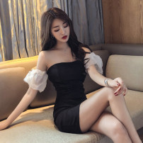 Dress Summer 2021 black S,M,L Short skirt singleton  Short sleeve commute One word collar middle-waisted Solid color zipper Pencil skirt puff sleeve Breast wrapping 18-24 years old Type H Other / other Korean version Open back, stitching, mesh 30% and below brocade nylon