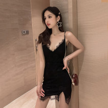 Dress Summer 2020 White, black Average size Short skirt singleton  Sleeveless commute V-neck middle-waisted Solid color zipper One pace skirt other camisole 18-24 years old Other / other Korean version Open back, stitching, asymmetry, zipper, lace