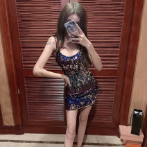 Dress Winter of 2018 Red, blue Average size Short skirt singleton  Sleeveless commute Crew neck High waist other Socket One pace skirt other camisole 18-24 years old Type H Other / other Korean version Sequins