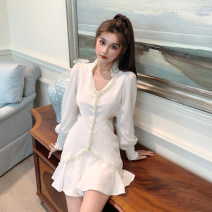 Dress Autumn 2020 white S,M,L Short skirt singleton  Long sleeves commute V-neck High waist Solid color zipper Ruffle Skirt puff sleeve Others 18-24 years old Type X Other / other court 31% (inclusive) - 50% (inclusive) other