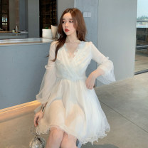 Dress Spring 2020 white S,M,L Short skirt singleton  Long sleeves Sweet V-neck middle-waisted Solid color Socket Princess Dress puff sleeve Others 18-24 years old Type X Other / other 81% (inclusive) - 90% (inclusive) polyester fiber princess