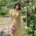 Dress Summer 2020 yellow XS,S,M,L Mid length dress Two piece set Short sleeve V-neck Type X MR water 20D121 More than 95% polyester fiber