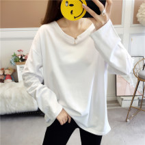 T-shirt M,L,XL,2XL Autumn of 2019 Long sleeves V-neck easy Regular routine commute cotton 96% and above Korean version youth