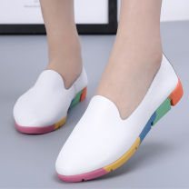 Low top shoes 35,36,37,38,39,40,41,42,43,44 Other / other Round head Double skin mulching Flat heel Low heel (1-3cm) Midmouth No interior Spring of 2019 Trochanter Sweet Adhesive shoes Middle aged (40-60 years old), young (18-40 years old) Solid color rubber Lazy shoes PU Home A-912 Film mulching