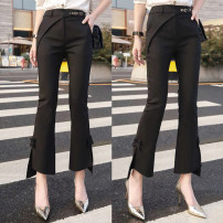 Casual pants black S,M,L,XL,2XL Spring 2021 Ninth pants Flared trousers High waist commute routine 25-29 years old 81% (inclusive) - 90% (inclusive) polyester fiber pocket nylon Asymmetry