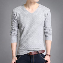 T-shirt Youth fashion White, red, gray, black routine M (recommended 115 kg), l (recommended 130 kg), XL (recommended 145 kg), XXL (recommended 160 kg), 3XL (recommended 175 kg) Others Long sleeves V-neck Self cultivation daily autumn youth routine Youthful vigor Woven cloth 2020 Solid color